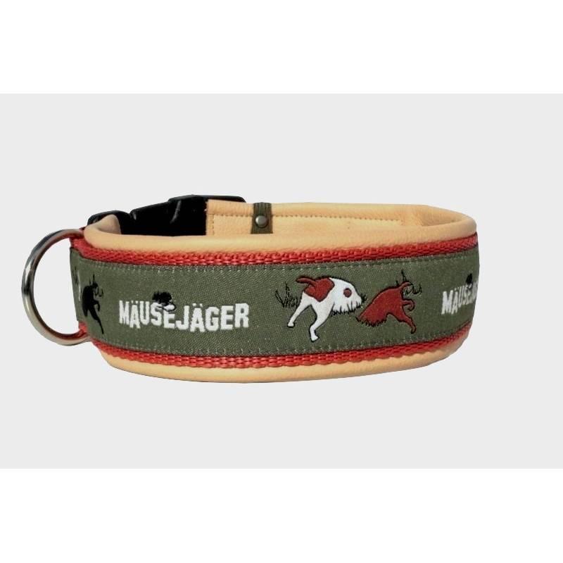 Hundehalsband »Mäusejäger« mit echtem Leder unterlegt aus der Halsbandmanufaktur von dogs & paw Bild 1