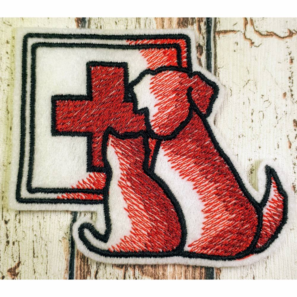 Aufnäher gestickt Hund Tierpass Impfpass Katze Bild 1