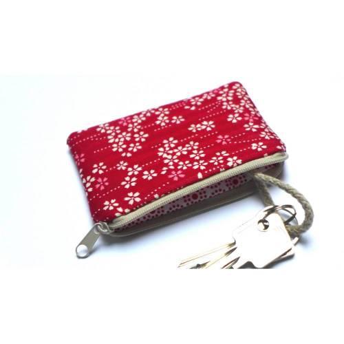 Schlüsseletui Schlüsseltasche Minitasche Kirschblüte Rot