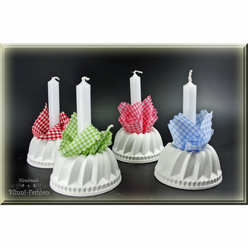 GUGELHUPF Kerzenhalter aus Gips als Tischdeko, Geschenkidee zur Hochzeit, Geburtstag, oder Muttertag, Mitbringsel für Einladung Bild 1
