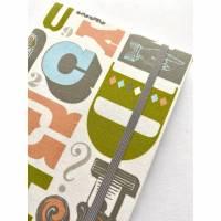 """Notizbuch """"Alphabet/Grey&Lime"""" A5 stoffbezogen Stoff Buchstaben Alphabet Handlettering Kalligraphie Buchstaben Fan Geschenkidee Bild 1"""