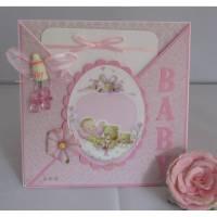 Babykarte zur Geburt Taufe eines Mädchen Bild 1