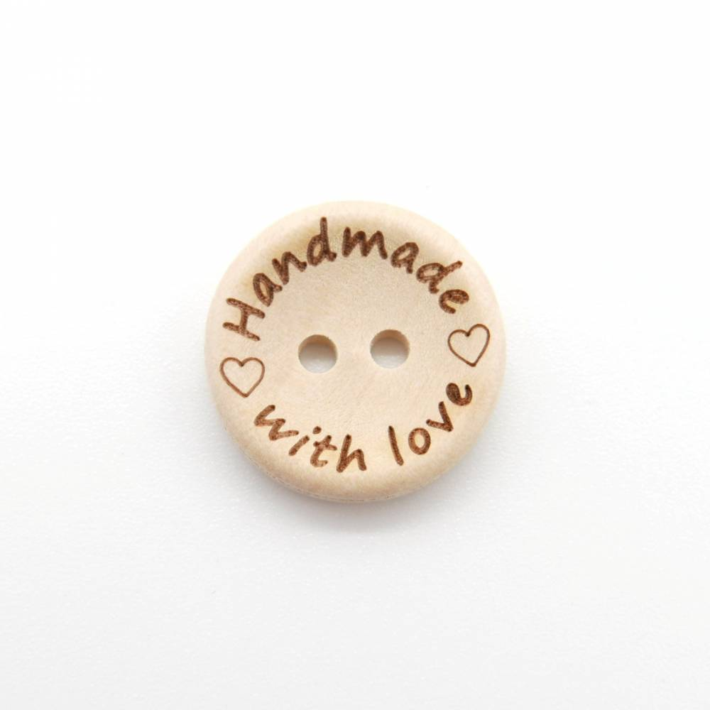 "Holzknöpfe 20 mm ""Handmade with Love"" als Label Bild 1"