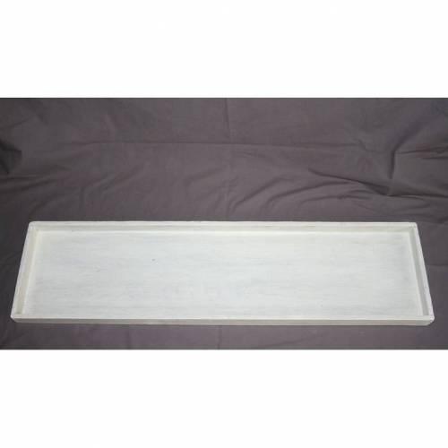 flaches weißes Tablett aus Holz