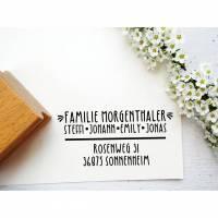 Stempel Adresse, Adressstempel Familienstempel zum Einzug,  zur Hochzeit, zum Umzug, Hauskauf, als Geschenk zum Richtfest Bild 1