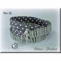 Wickelarmband aus Stoff mit Perlenanhänger, Schmuck, Armband, Textilschmuck Bild 1