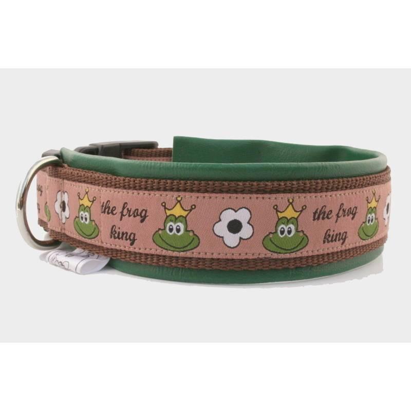 Hundehalsband »Frog King« mit echtem Leder unterlegt aus der Halsbandmanufaktur von dogs & paw Bild 1
