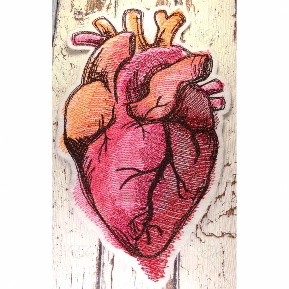 Aufnäher Anatomisches Herz Applikation Bild 1