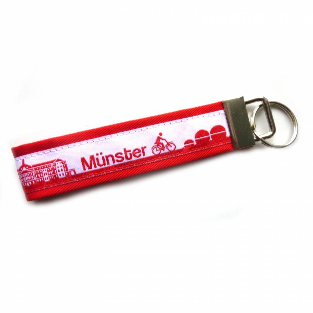 """Schlüsselanhänger Schlüsselband Anhänger """"Münster"""" in schwarz/weiß oder rot/weiß aus Baumwollstoff und Webband Bild 1"""