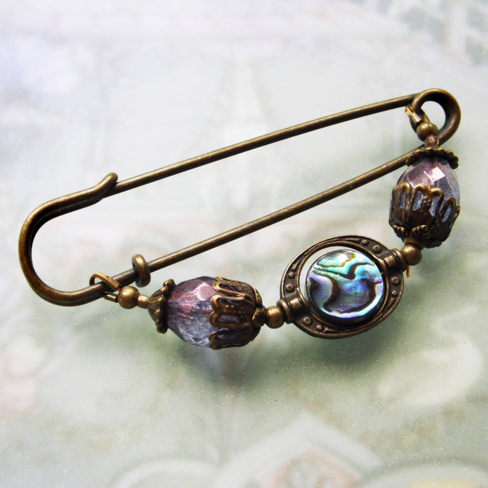 Schalnadel  mit Paua Abalone und böhmischen Glasperlen Bild 1