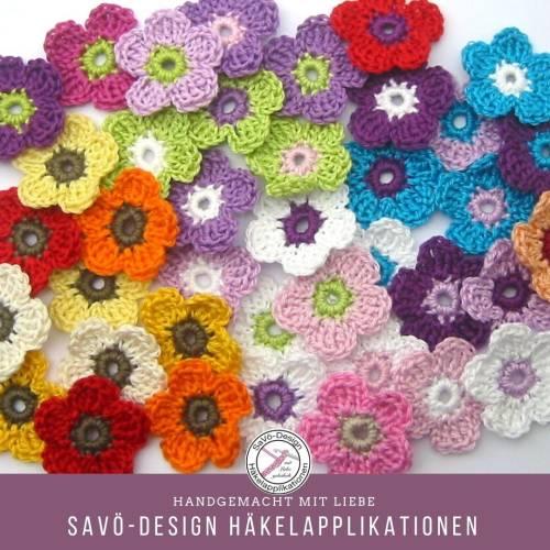 kleine Blumen Häkelblumen Streuteile Streudeko Farbwahl Blüten Streublumen