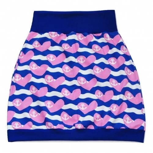 Damen Pumprock, Ballonrock Gr. 36, blau, rosa, weiß mit Herzen und Anker