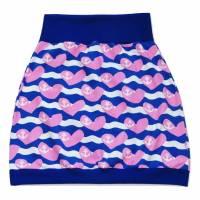 Damen Pumprock, Ballonrock Gr. 36, blau, rosa, weiß mit Herzen und Anker Bild 1