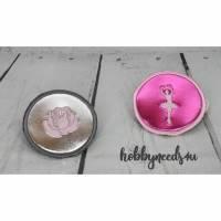 Button Klettbutton Set für Schulranzen Kletti Ballerina silber pink personalisierbar Bild 1