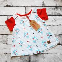 Kleid aus Baumwolljersey in  Gr. 56 hellblau/weiß/rot mit Rehen Bild 1