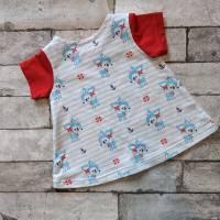 Kleid aus Baumwolljersey in  Gr. 56 hellblau/weiß/rot mit Rehen Bild 2