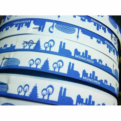 München Skyline Webband blau/weiß