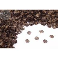 50 Stk. antik-bronzefarbene Blumen Perlenkappen 9mm Bild 1