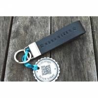 Schlüsselanhänger mit Wunschtext - handgestempelt - Rindsleder - personalisiert - bis 15 Zeichen Bild 1
