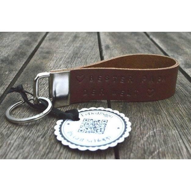 Leder-Schlüsselanhänger mit Wunschtext - handgestempelt - Rindsleder - bis 30 Zeichen Bild 1