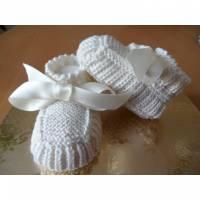 Taufschuhe mit Satinband aus 100 % Baumwolle handgestrickt, creme Bild 1