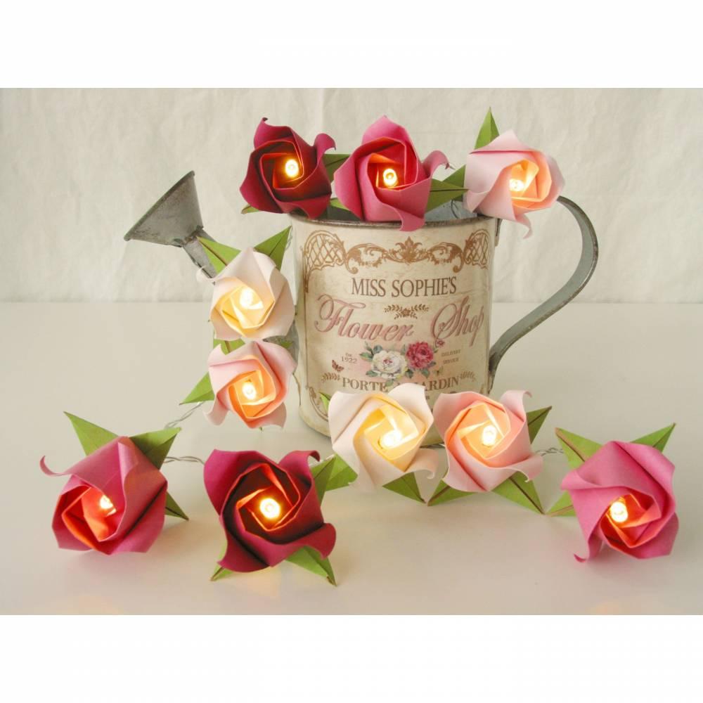 Lichterkette kleine Rosen Himbeer Traum, Hochzeitsdeko, Hochzeitsgirlande, Party Dekoration Bild 1