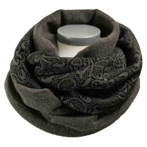 Loopschal Damen Loop Schal Strick Fleece ornamental gemustert