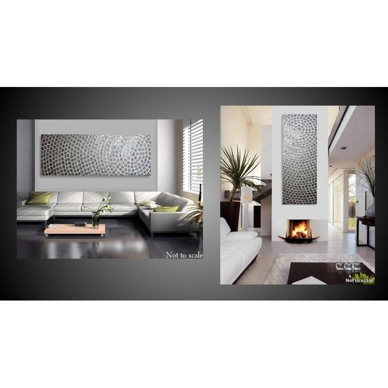 Großes Bild Acrylbild abstrakt Leinwandbilder Kunst Malerei Bild Weiß Silber Metallic Bilder auf Leinwand Künstler modern art Wanddeko by ilonka Bild 1