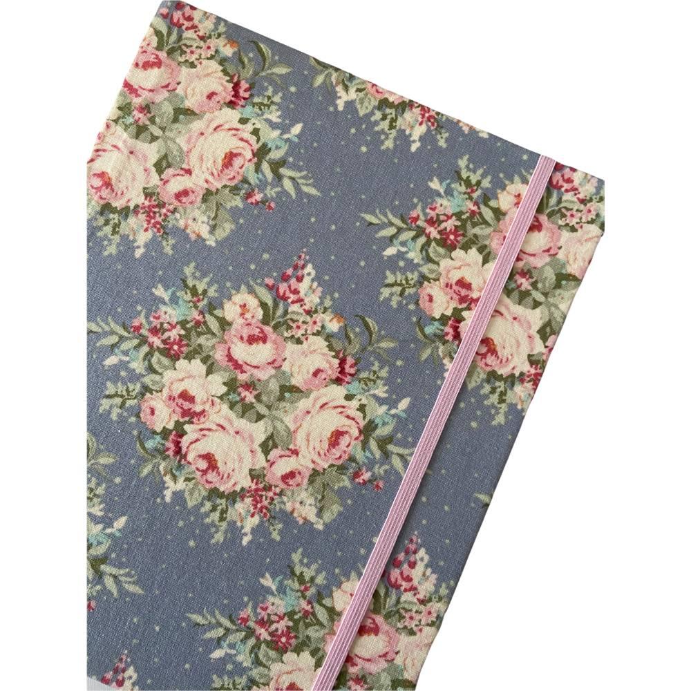 """Notizbuch Hardcover Blanko stoffbezogen """"Rose Bouquet/Light Blue"""" ähnlich A5 17,5x23 cm Schmetterling Geschenk Bild 1"""