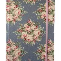 """Notizbuch Hardcover Blanko stoffbezogen """"Rose Bouquet/Light Blue"""" ähnlich A5 17,5x23 cm Schmetterling Geschenk Bild 2"""