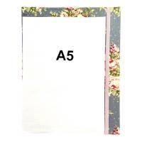 """Notizbuch Hardcover Blanko stoffbezogen """"Rose Bouquet/Light Blue"""" ähnlich A5 17,5x23 cm Schmetterling Geschenk Bild 3"""