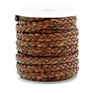 Lederband flach geflochten in 5 mm rot brown vintage finish Bild 1