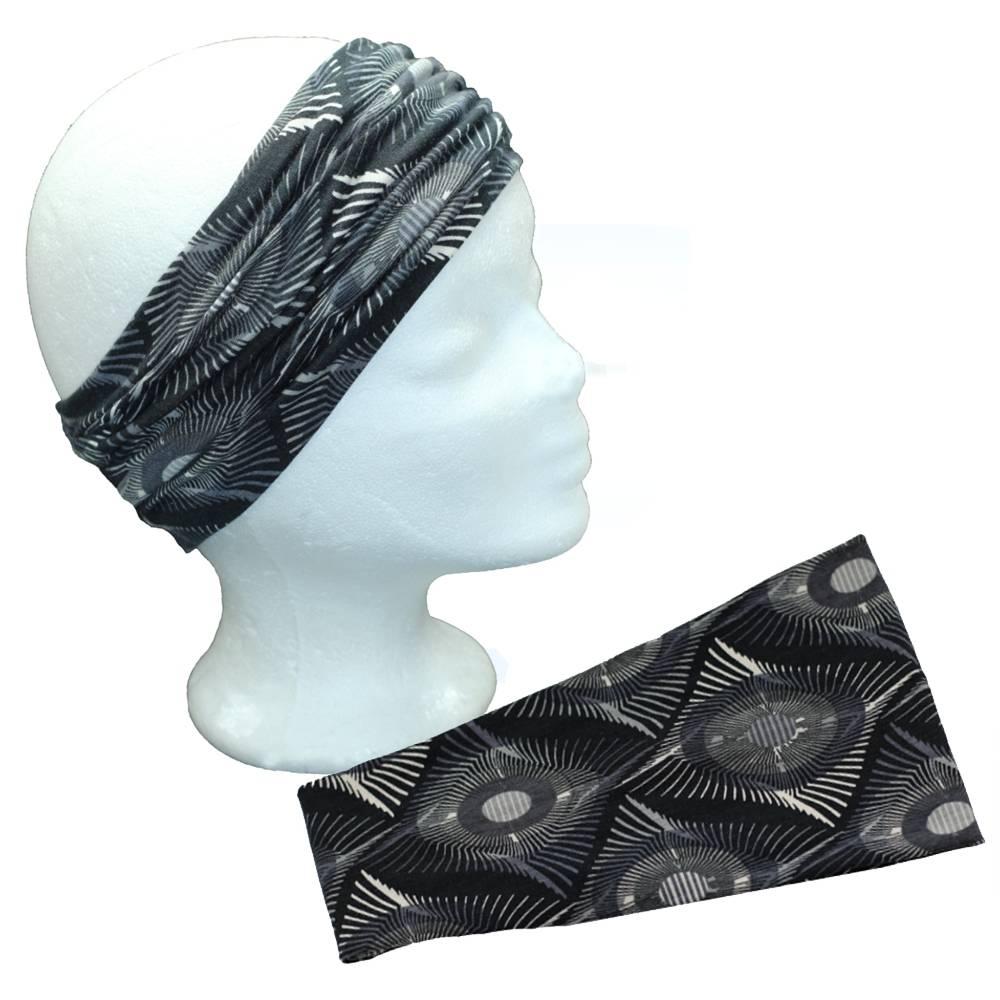 Stirnband Damen Viskose Jersey gemustert Haarband extra breit  Bild 1