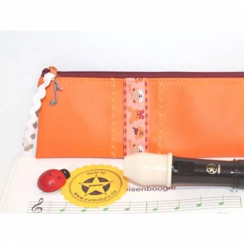 Flötentasche in orange aus Kunstleder