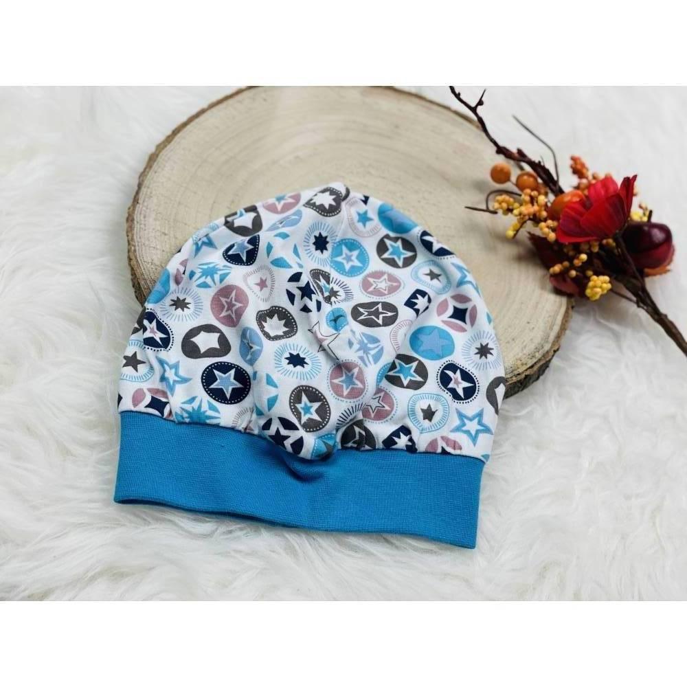 Beanie Mütze blaue, braune Sterne Bild 1