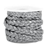 Lederband flach geflochten in 5 mm grau metallic Bild 1