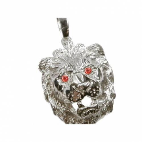 Anhänger Löwe Silber 925 Löwenkopf Massiv ca. 15g mit Rubin Farbe Zirkonia Augen