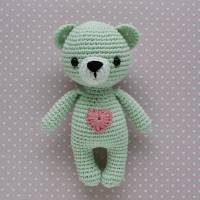 Kuscheltier Häkeltier Teddy Mini mint aus Baumwolle Handarbeit Bild 1