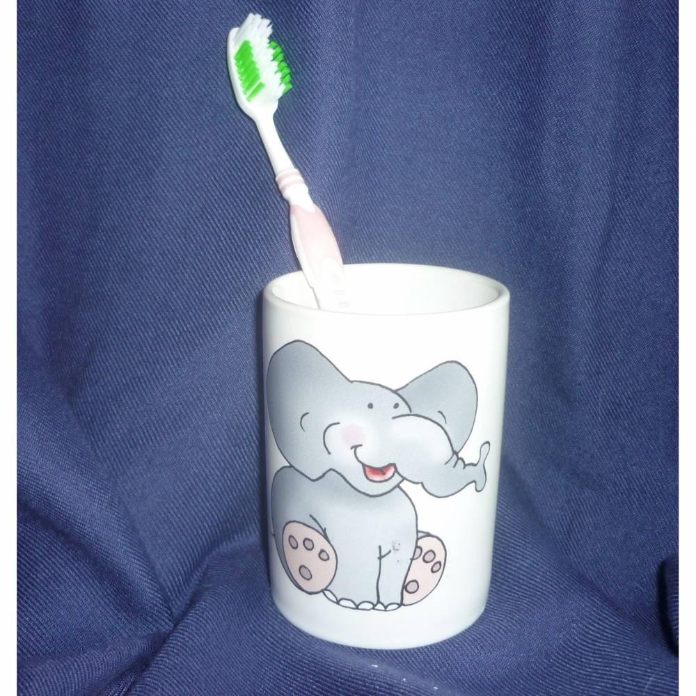 Zahnbecher,Zahnputzbecher Elefant,Mädchen,Junge,Zahn,Baddeco,Badezimmer,Hände,waschen,Zahnbürste, Bild 1
