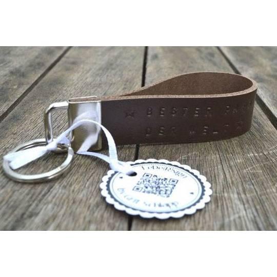 Schlüsselband mit Wunschtext - handgestempelt - Rindsleder - personalisiert - bis 45 Zeichen Bild 1