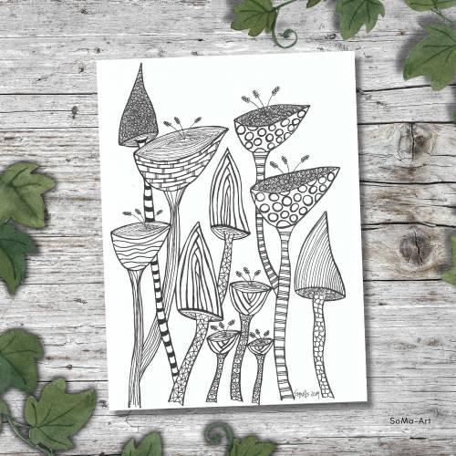 Zeichnungen, witzig und verrückt, mit Fineliner auf Künstlerpapier, ungerahmt, Wanddekoration, Wandkunst, Unikate