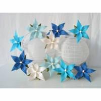 Lichterkette blau türkis weiß, Dekoration Taufe Tischdeko, Geschenk zur Geburt Bild 1