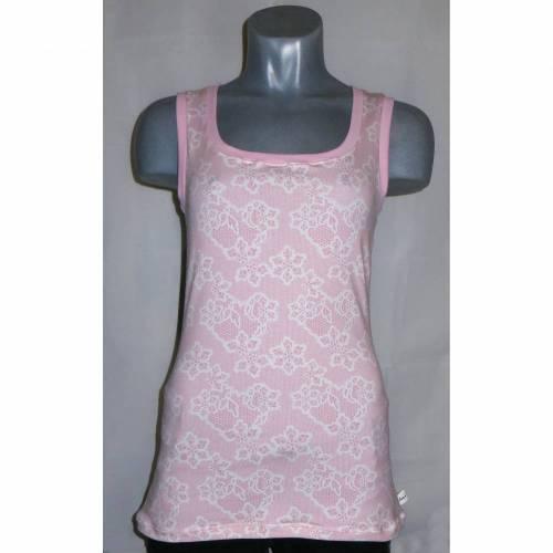 Top Shirt Damen rosa weiß geblümt Gr. S 34 36