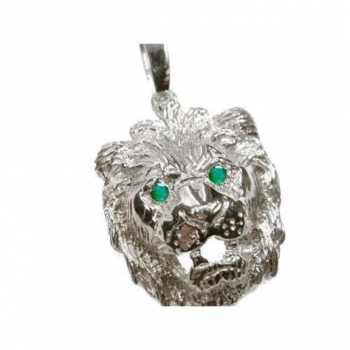 Anhänger Löwe Silber 925 Löwenkopf Massiv ca. 15g mit Smaragd Grünen Zirkonia Augen