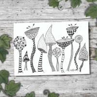 Zeichnungen mit Fineliner, beliebte Crazyflowers auf Papier , handgezeichenet / Kein Druck, Kunstwerk, Blumen, Bild 1