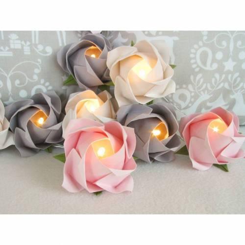 Lichterkette große Rosen rosé-grau-weiß, Lichterkette für Kinderzimmer, Geschenk zur Einschulung