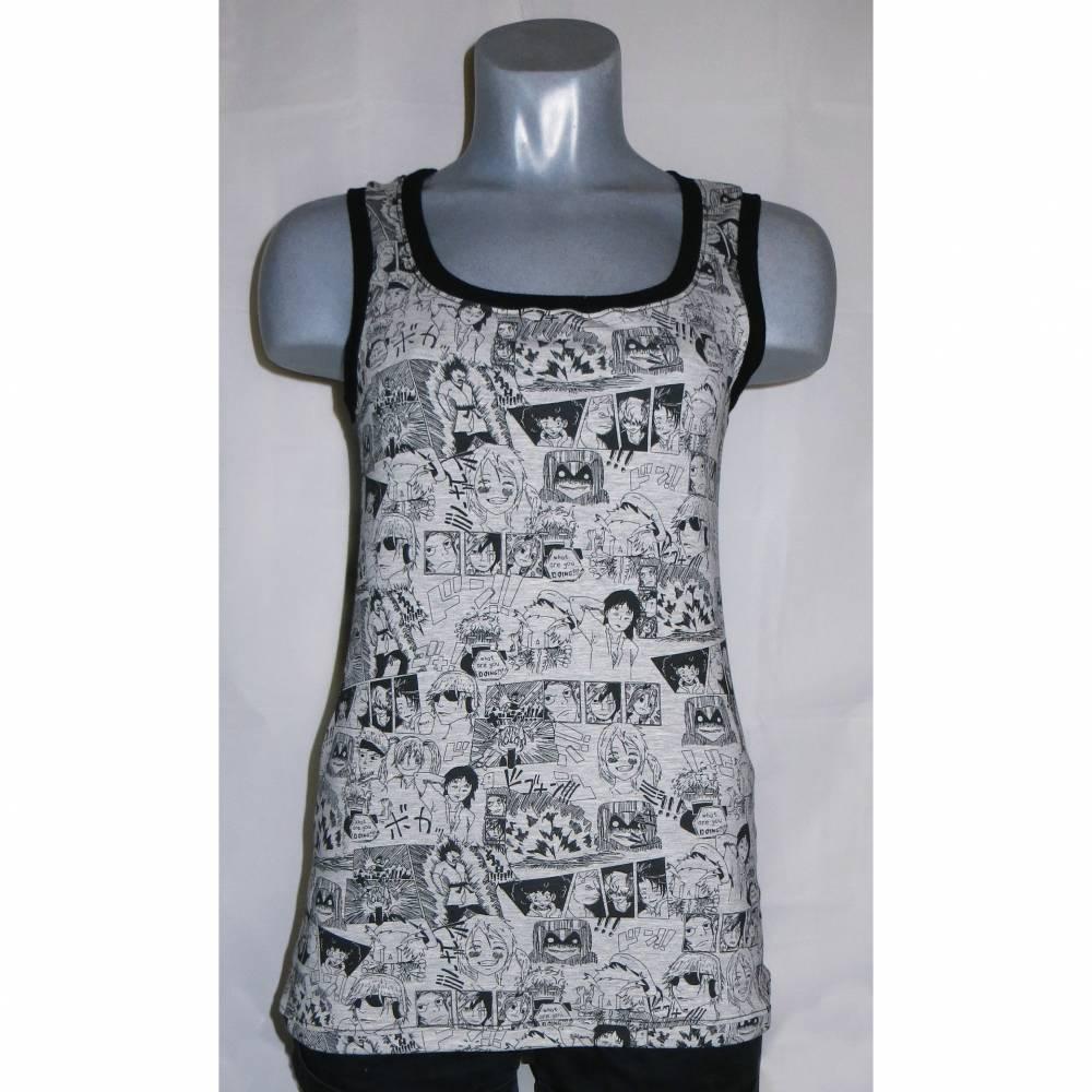 Top Shirt Damen grau schwarz Manga Gr. S 34 36 Bild 1