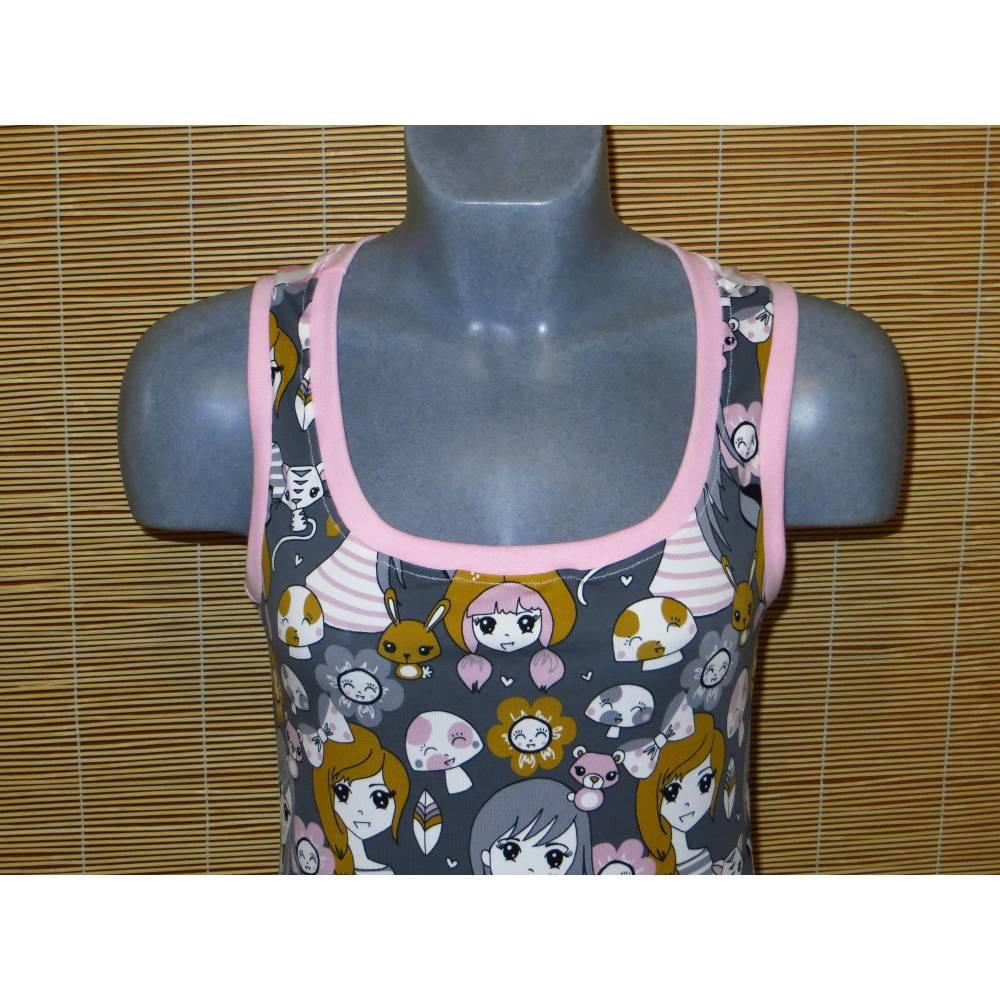 Damen Top Shirt Manga Girl grau rosa Gr. S 34 36 Bild 1