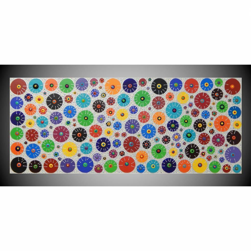 Acrylbild groß bunte Kreise abstraktes Bild, 3D Bild, sehr strukturiert, Kunst, Malerei, Gemälde, Wanddeko für Wohnzimmer Übergroßes Bild by ilonka Bild 1