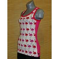 Damen Top Shirt Flamingo Pink Rot Weiß Gr. S 34 36 Bild 1